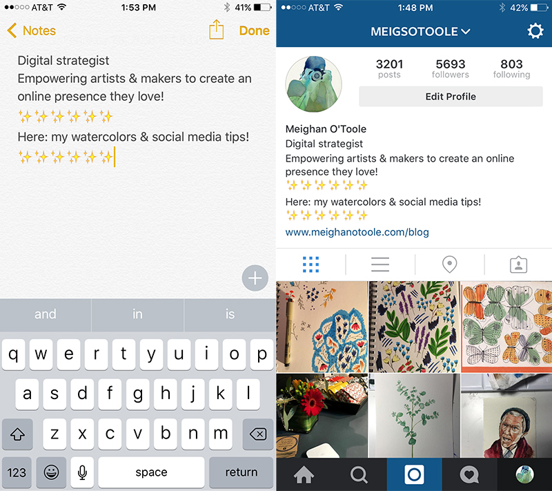 Ways to create a cohesive Instagram Feed: format your bio with a Notes app