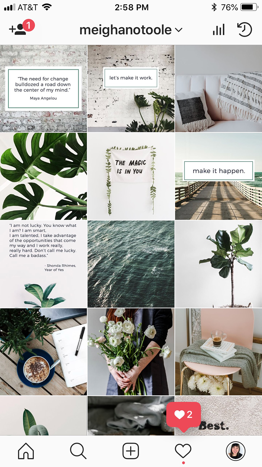 Having a visually cohesive grid is one of the best things you can do to attract followers.