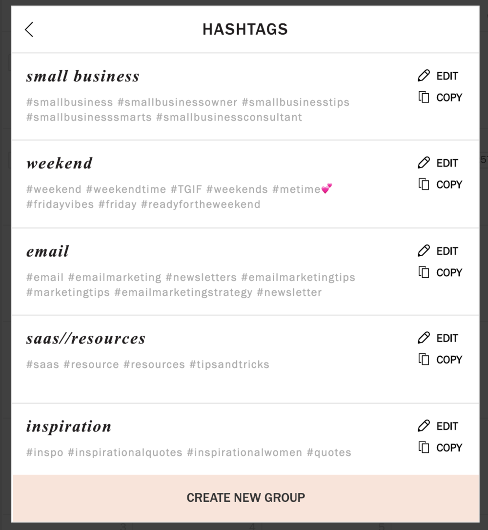 Planoly offers a Hashtag Library that you can create.