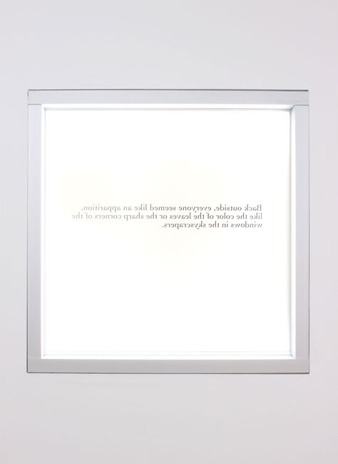 """Time (Outside)"", 2012 Die cut vinyl sticker on window (interior)"