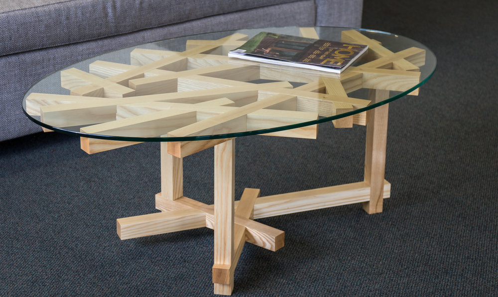 American White Ash Coffee table with toughened glass top