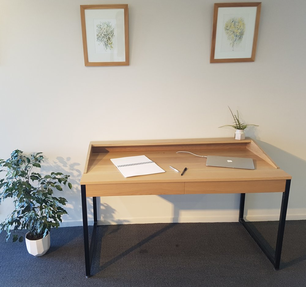 American White Oak desk with seamless soft close drawers