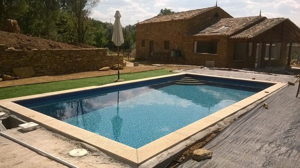 Filled pool, ready for terrace