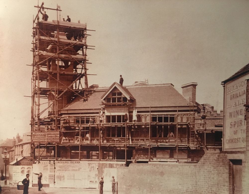 The Castle Road Clocktower, under construction in 1902