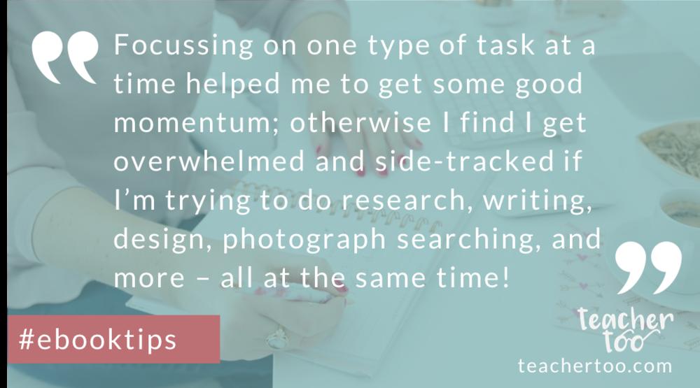 Focus when writing en e-book