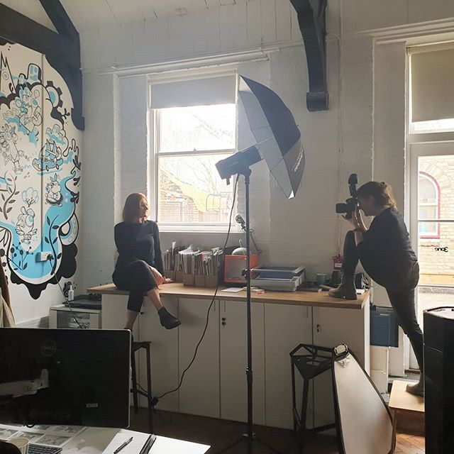Huge thanks @philippagedge who had to deal with some reprobates @3equals1design lots of laughter and lots of pulling faces 😜 #photoshoot #photographer #design #waterloo #workplacedesigners #makingworklive