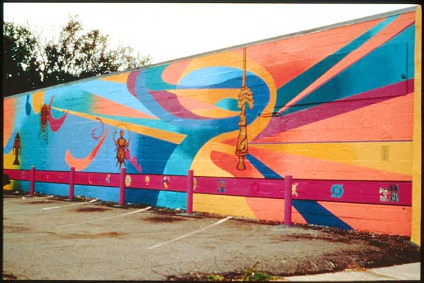 """Crossroads"" mural on the Cultural Center of Minnesota, African Drum and Dance, Lyndale Neighborhood"