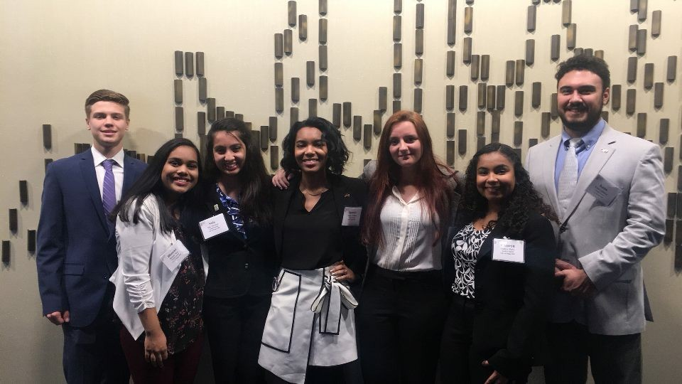 Left to right: Camden Doker, Bhaumi Shah, Nida Merchant, Spencer Grace Williams, Laura Ann Acker, Camryn Flores, Kaan Cubukcu    Photo Courtesy Camryn Flores