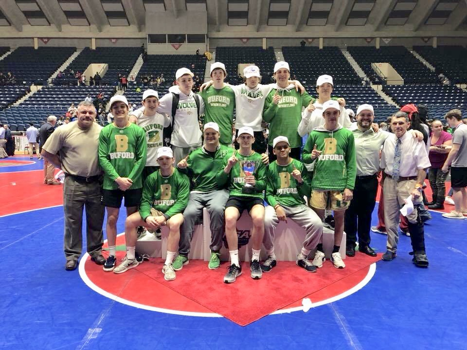 Buford Varsity Wrestling Team clinches back to back State Championship titles in Macon.  Photo courtesy Wendy Beuglas