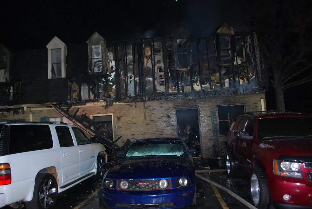 The fire caused extensive damage to the entire six unit structure. Photo courtesy Gwinnett Fire Dept.