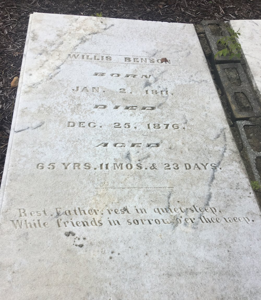 The grave marker for Willis Benson can be found in the small family cemetery near Richland Creek. Photo courtesy Brandon Hembree