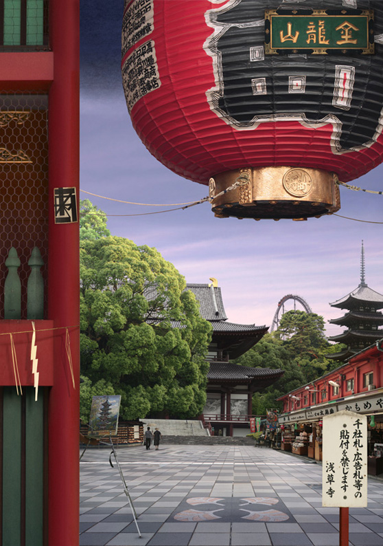 Tokyo Story 8: Temple (after Hiroshige)  2011 by Emily Allchurch Total Edition of 10 + 2 APs Transparency on Bespoke LED lightbox: 87 x 122 cm (Edition of 4) Archival C-type print, mounted onto aluminium: 85 x 60 cm Framed (Artglass AR/UV): 109.5 x 84.5 cm (Edition of 6)