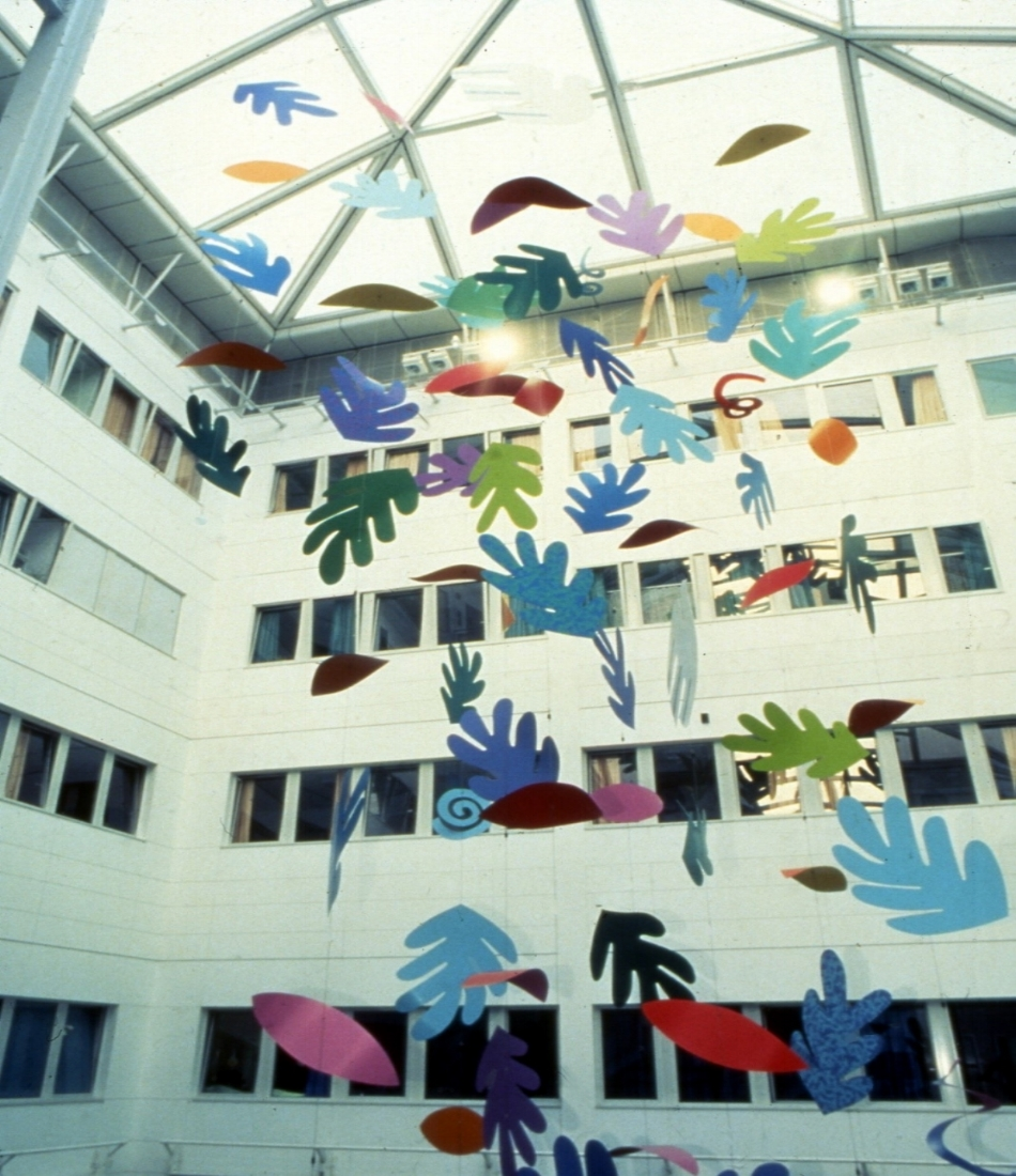 Sian Tucker 'Falling Leaves', Atrium at Chelsea and Westminster Hospital, London