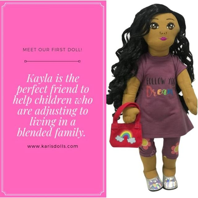 Meet our first doll, Kayla! She is on a new journey as her family becomes blended. Her parents may not be in the same home, but she is learning about some of the hidden benefits. Let your young girls join Kayla on her journey as she overcomes adversity, adapts to her new unique family changes, and gains double the love! To learn more about Kayla and how she can help your child adjust to a blending a family, check out our website in the bio!