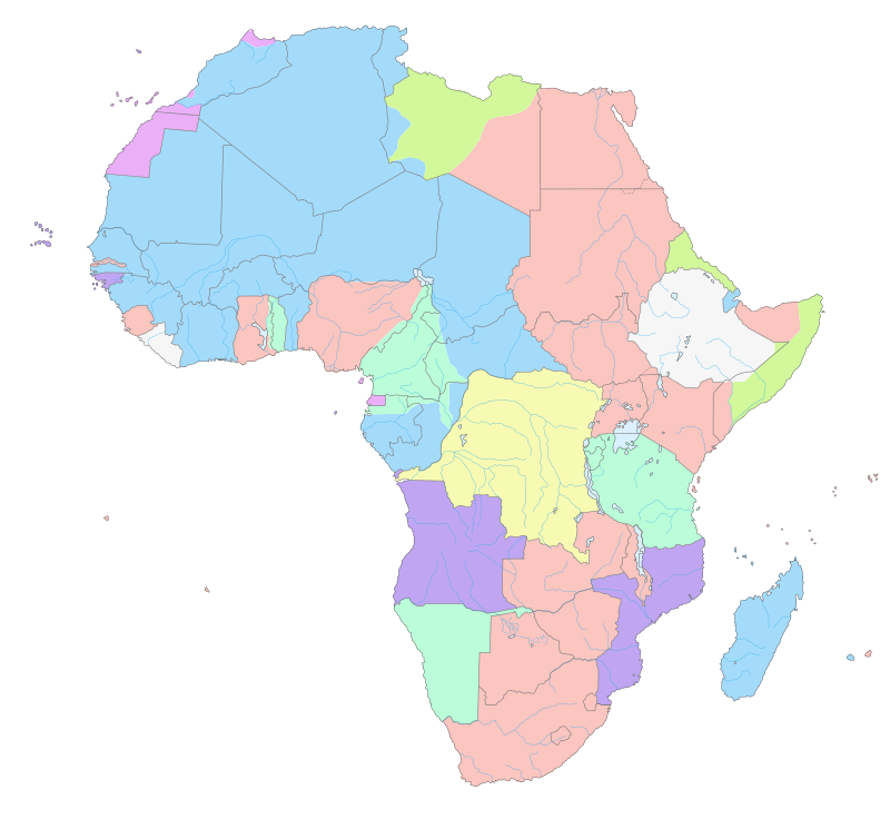 This map shows how Africa was divided by 1913, 30 years after the Conference. Pink represents Britain and Dark Blue represents France.