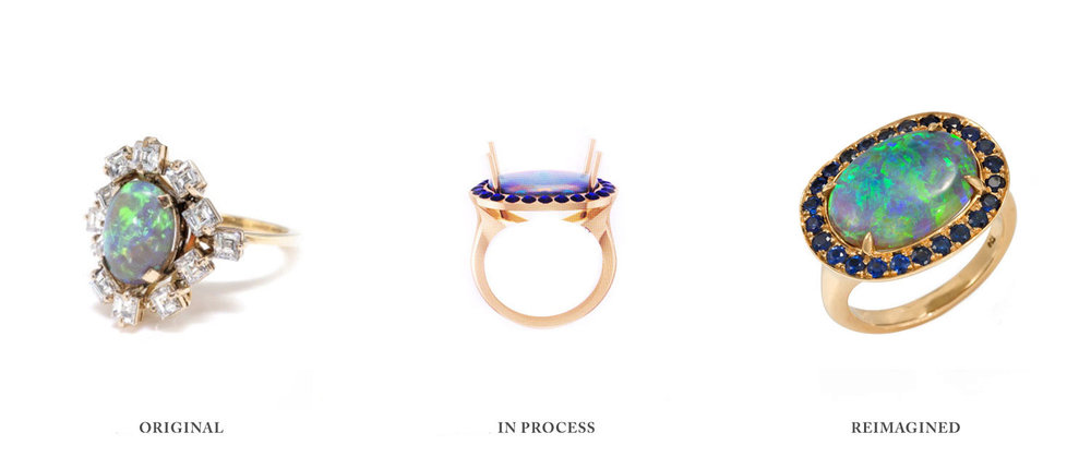 Fashionable in the 60's...  The future ring in progress.  Opal and sapphires. It works. How modern!