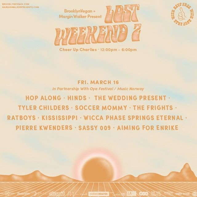 Yesterday slayed ✨ You won't want to miss out on @hindsband, @HopAlongtheband, and many more on our second day of @brooklynvegan + @marginwalkertx 's Lost Weekend 2 (today w/ @oyafest & @musicnorway too). See y'all at @cheerupcharlies!
