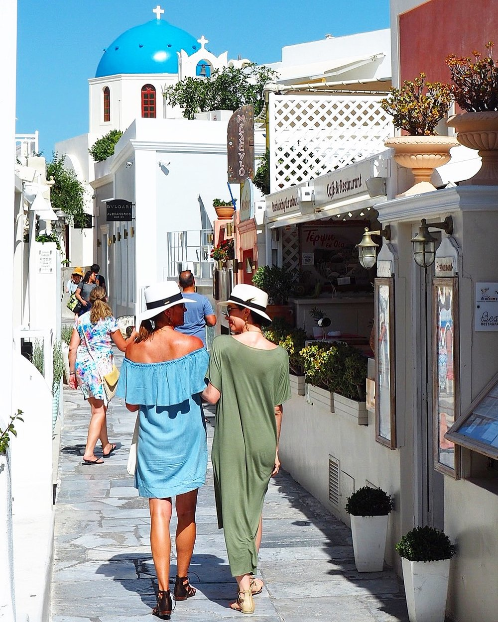 Walking the streets of Oia with my beautiful mother.