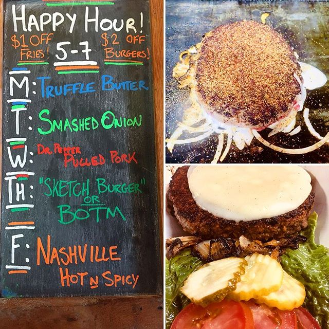 Come on in for our Burger Happy Hour! 5pm to 7pm every weekday. Today's happy hour special is our Smashed Onion Burger. ( $2 off the burger and $1 off all french fries) See ya soon! 🍔