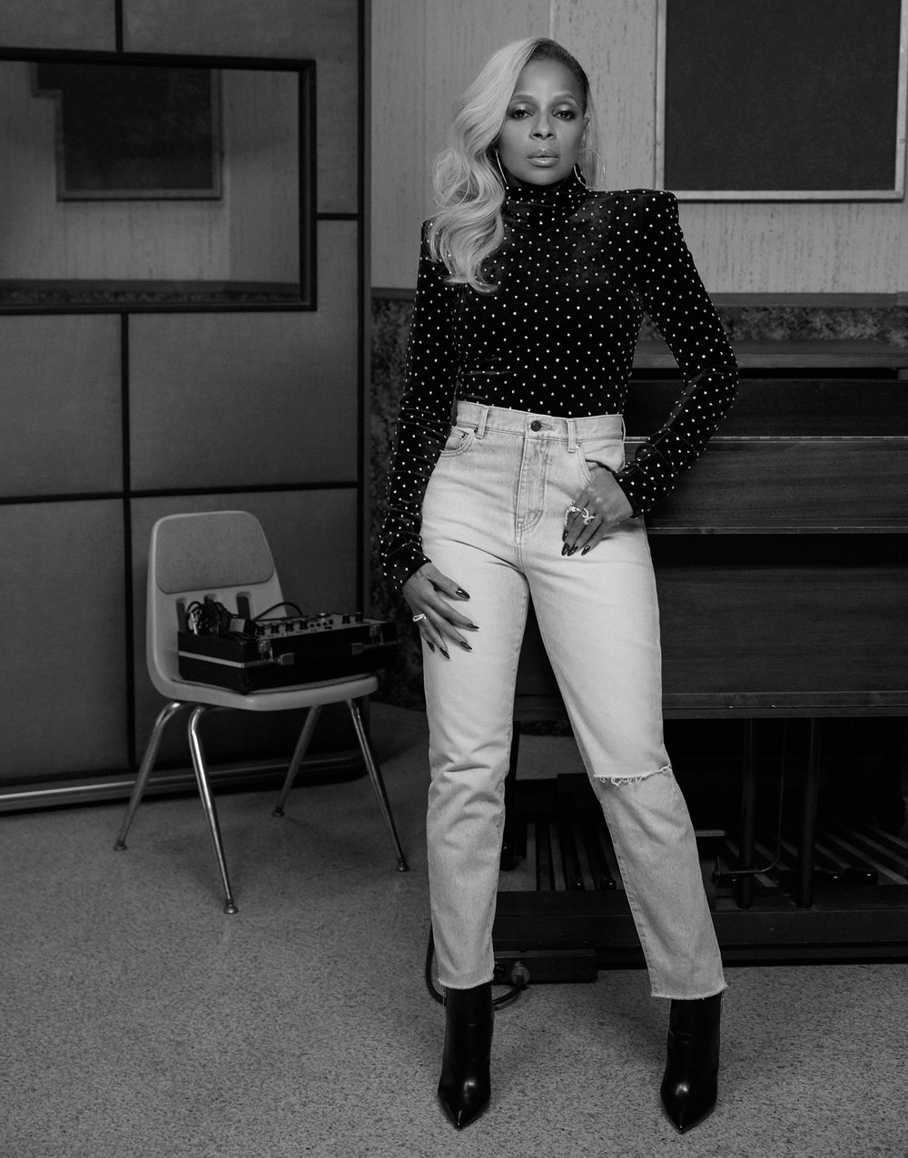 Bodysuit, Jeans & Boots by Saint Laurent -