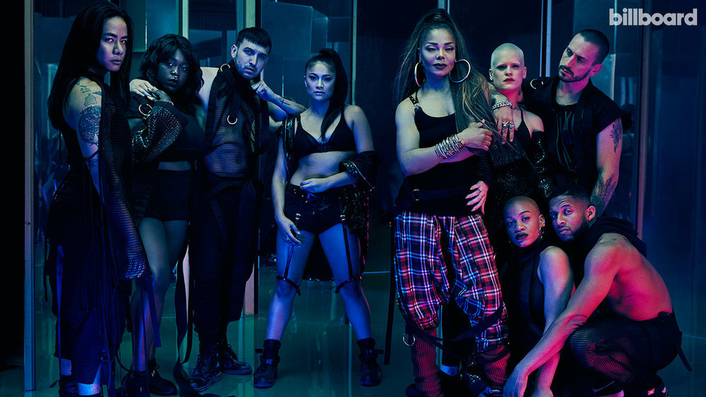 JANET JACKSON - Clockwise from left: Jackson's dancers Whyley Yoshimura, Allison Buczkowski, Guero Charles, Alexandra Carson, Jackson, Mishay Petronelli, James Collins, Denzel Chisolm and Dominique Battiste
