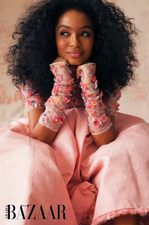 YARA SHAHIDI - Pink embroidered faille dress and gloves, both Chanel Haute Couture S/S18