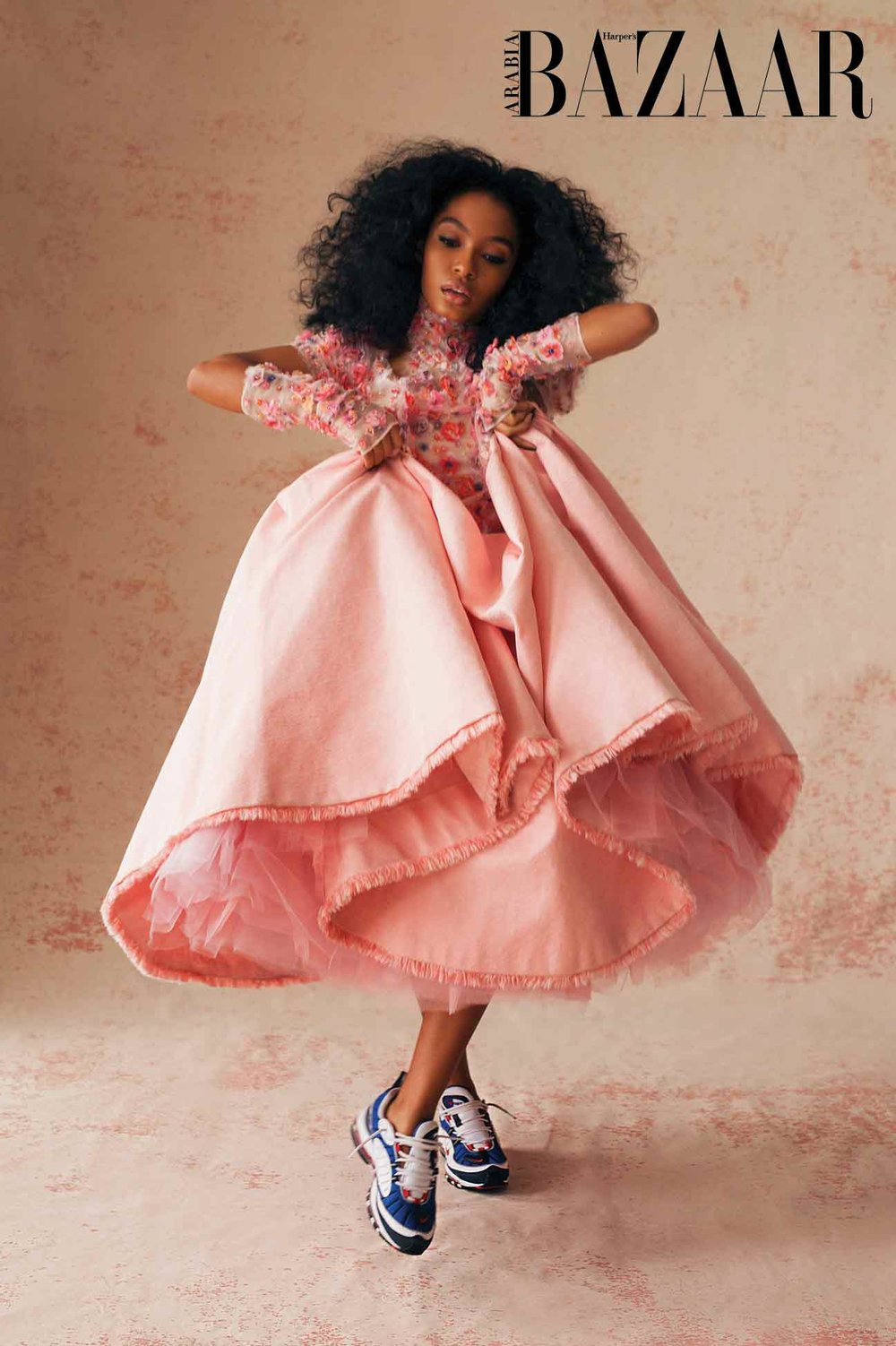 - Pink embroidered faille dress and gloves, both Chanel Haute Couture S/S18. Sneakers, Yara's own
