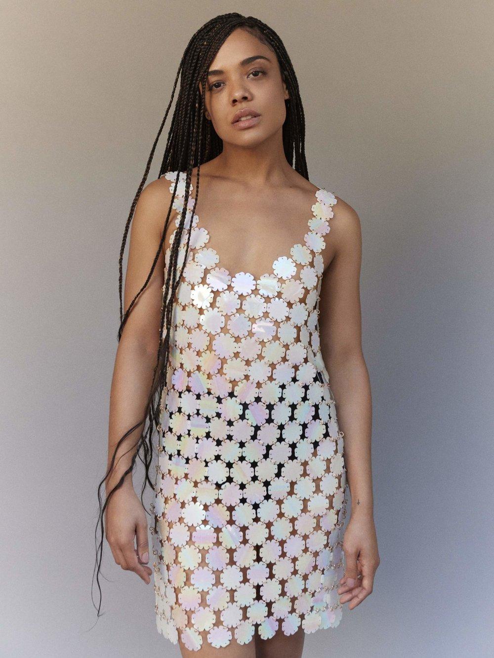 TESSA THOMPSON - Dress Paco Rabanne; briefs Baserange