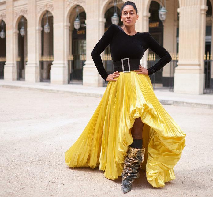 - Alexandre Vauthier bodysuit, skirt, belt, and boots.