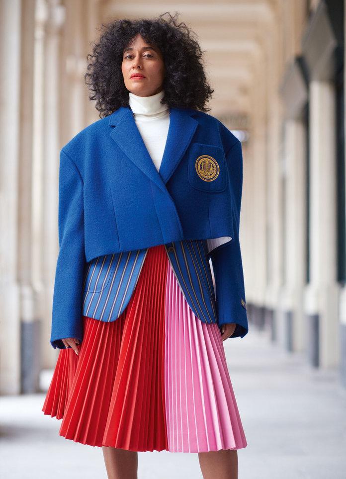 - Calvin Klein 205W39NYC blazer (licensed product of UC Berkeley), coat, turtleneck, and skirt.