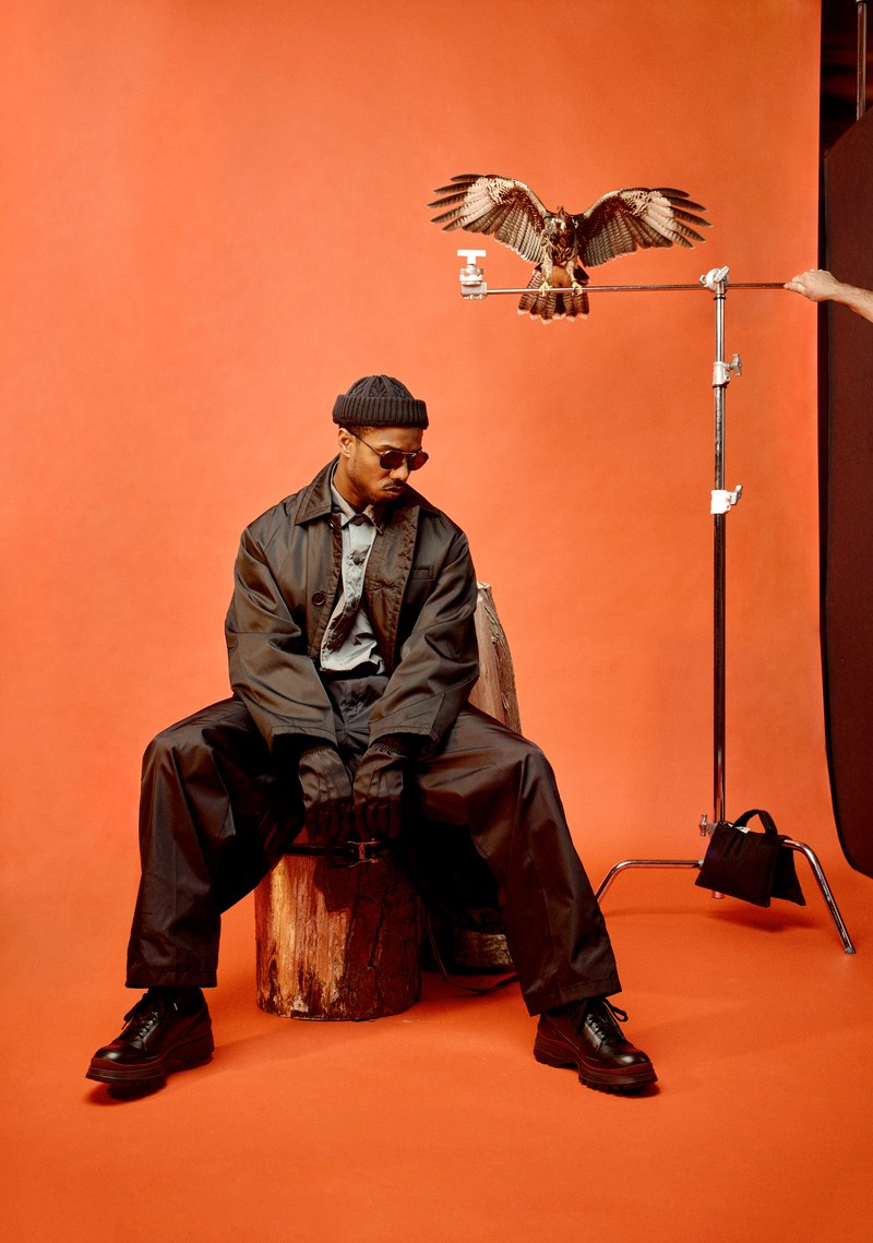 GQ MAGAZINE MEN OF THE YEAR ISSUE 2018 MICHAEL B JORDAN WITH EAGLE.jpg