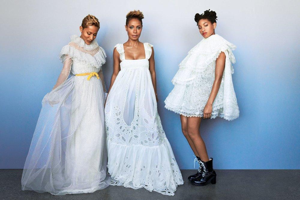 Erdem      dress,      Chloé      dress,      Vera Wang      dress,      Louis Vuitton      boots