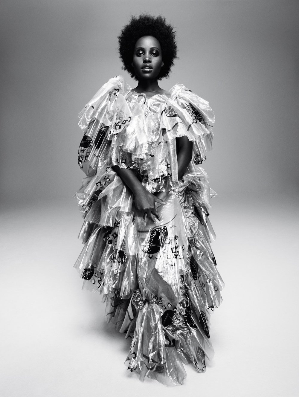 - Printed and glazed silk ruffle gown by Andreas Kronthaler for Vivienne Westwood