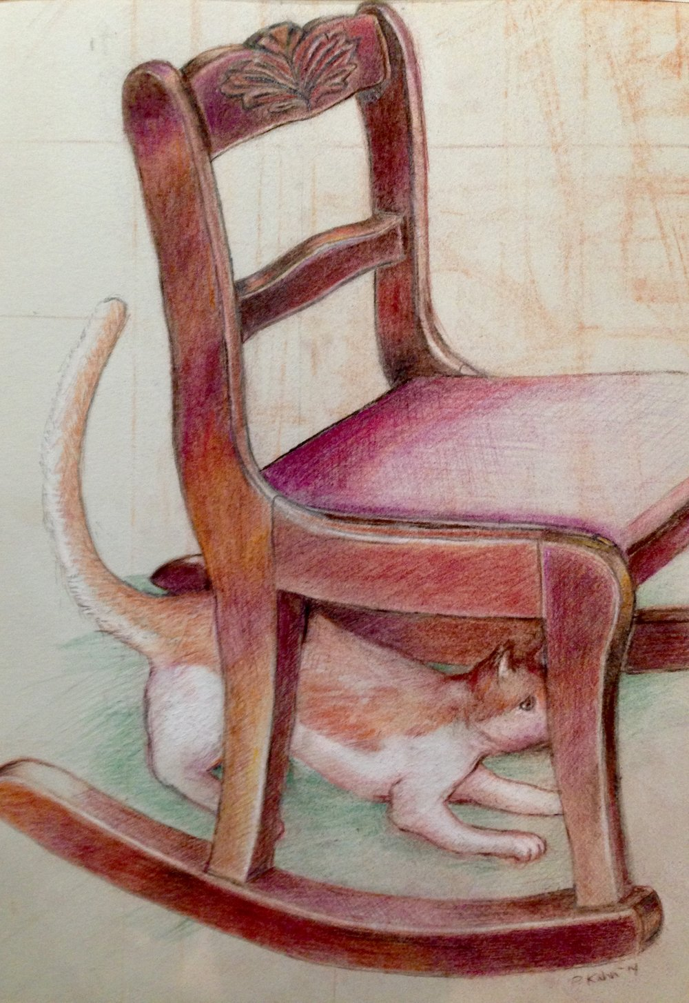 - This is Goldman the cat who belongs to friends Myrna and Allen.He is hiding like a lot of animals in the prairies, only not in the grasses.Goldman the Cat, color pencils and conte, 2014, Patty Kahn Copyright