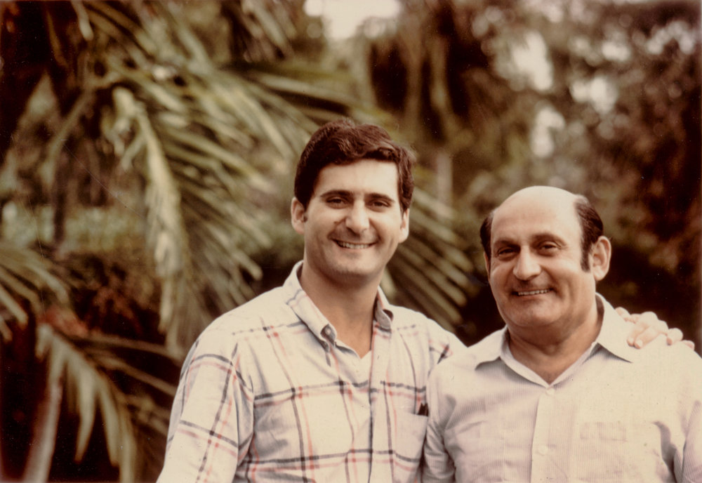 David with his dad in Miami during his eye residency.
