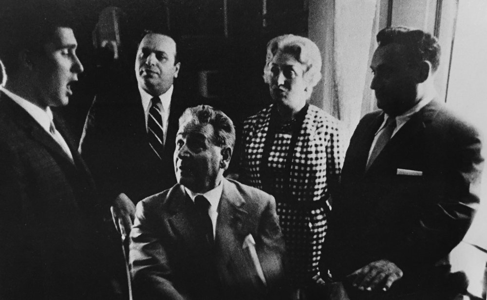 David auditioning with the great tenor, Lauri Volpi, with Richard (far right) looking on.