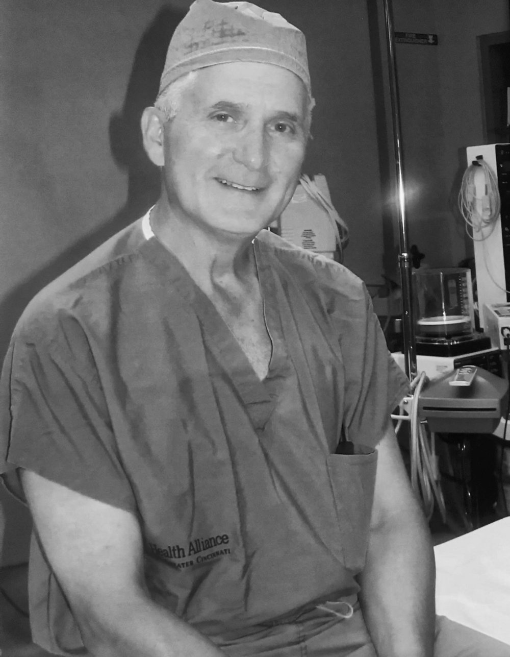 In surgical scrubs at the Jewish Hospital in Cincinnati, where I practiced medicine as an ophthalmologist for thirty-five years.  (From the personal collection of David N. Tucker)