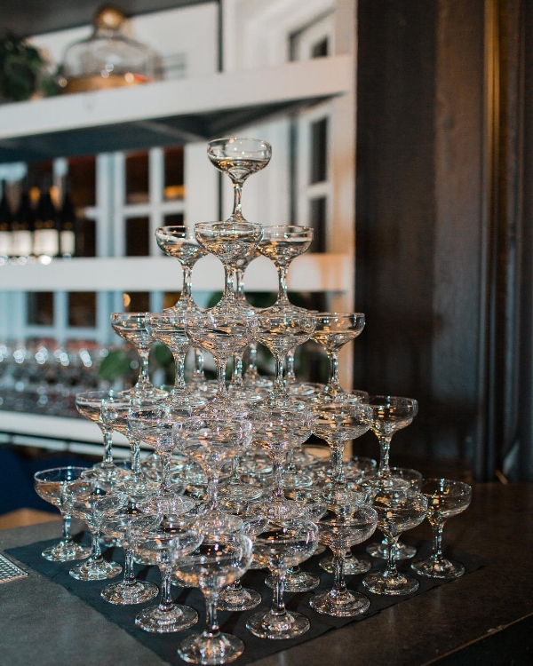 A timeless champagne tower at The Evergreen PDX