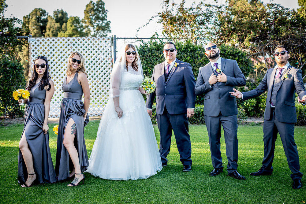 wedding party with sunglasses