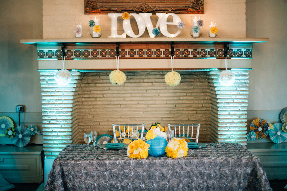 sweetheart table with fireplace
