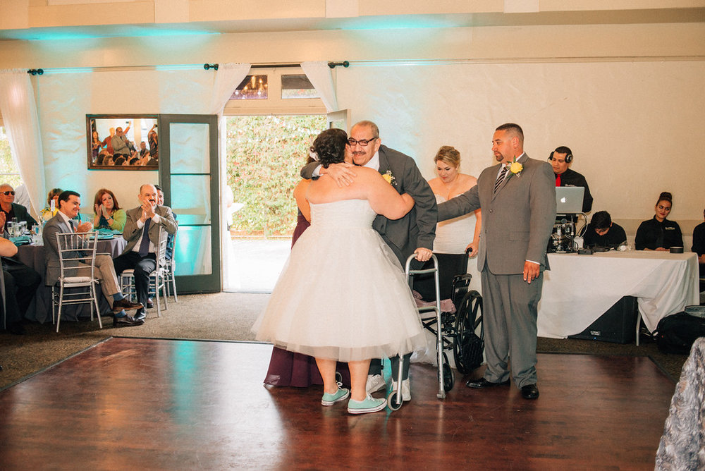 father daughter dance with wheelchair bound father