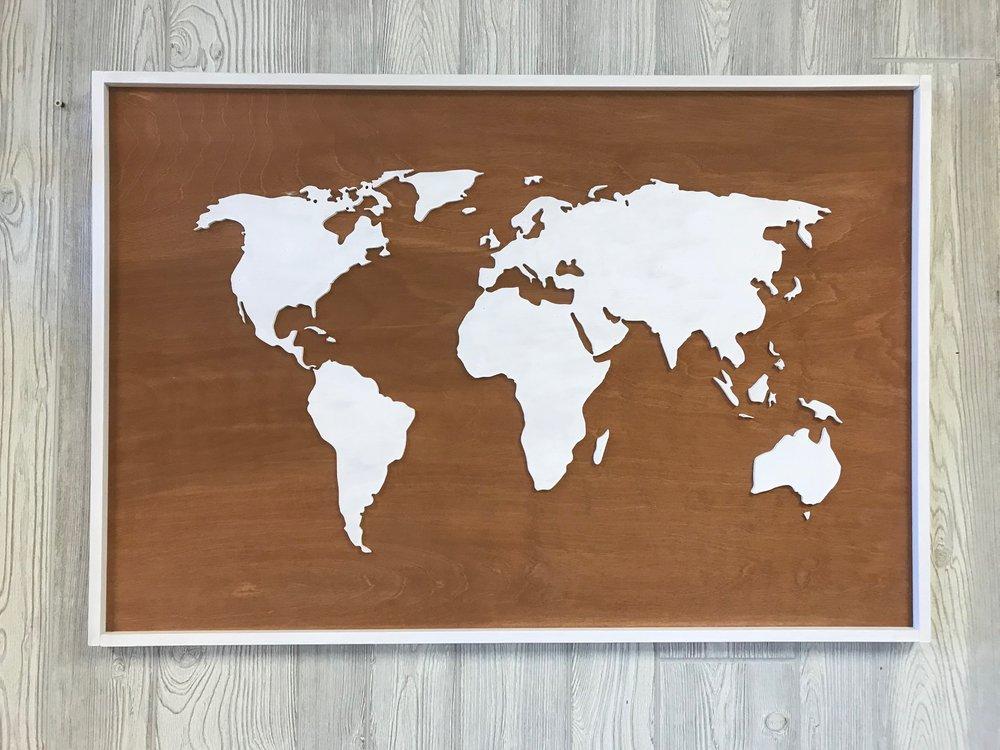 """36""""x24""""   3D World Map   $ 100"""