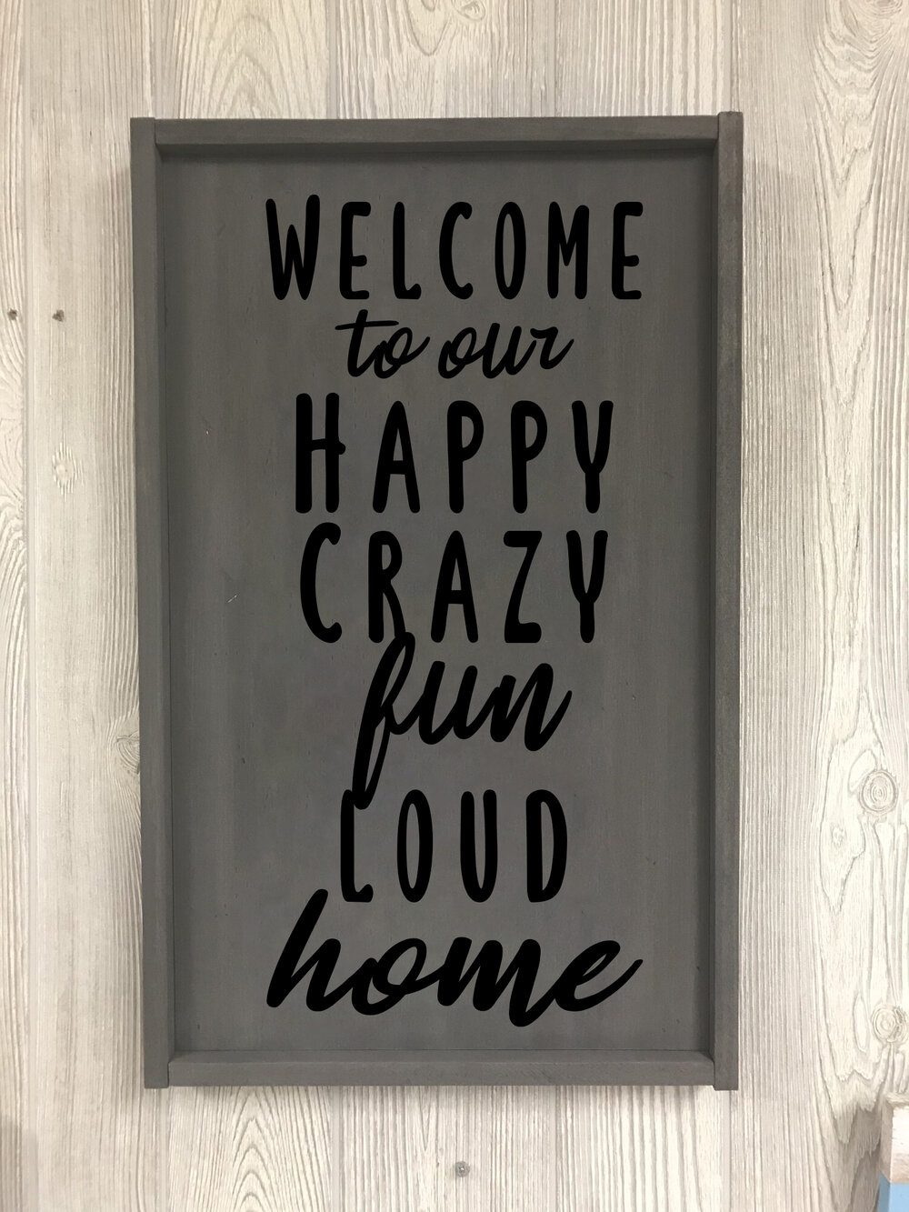 "$45 | Our Happy Home | 11.25"" x 24"""