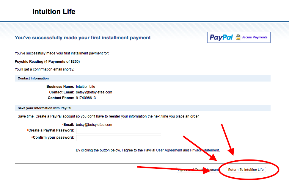 """Payment confirmation - will look like this and you will need to press """"Return to Intuition Life"""" to schedule*."""