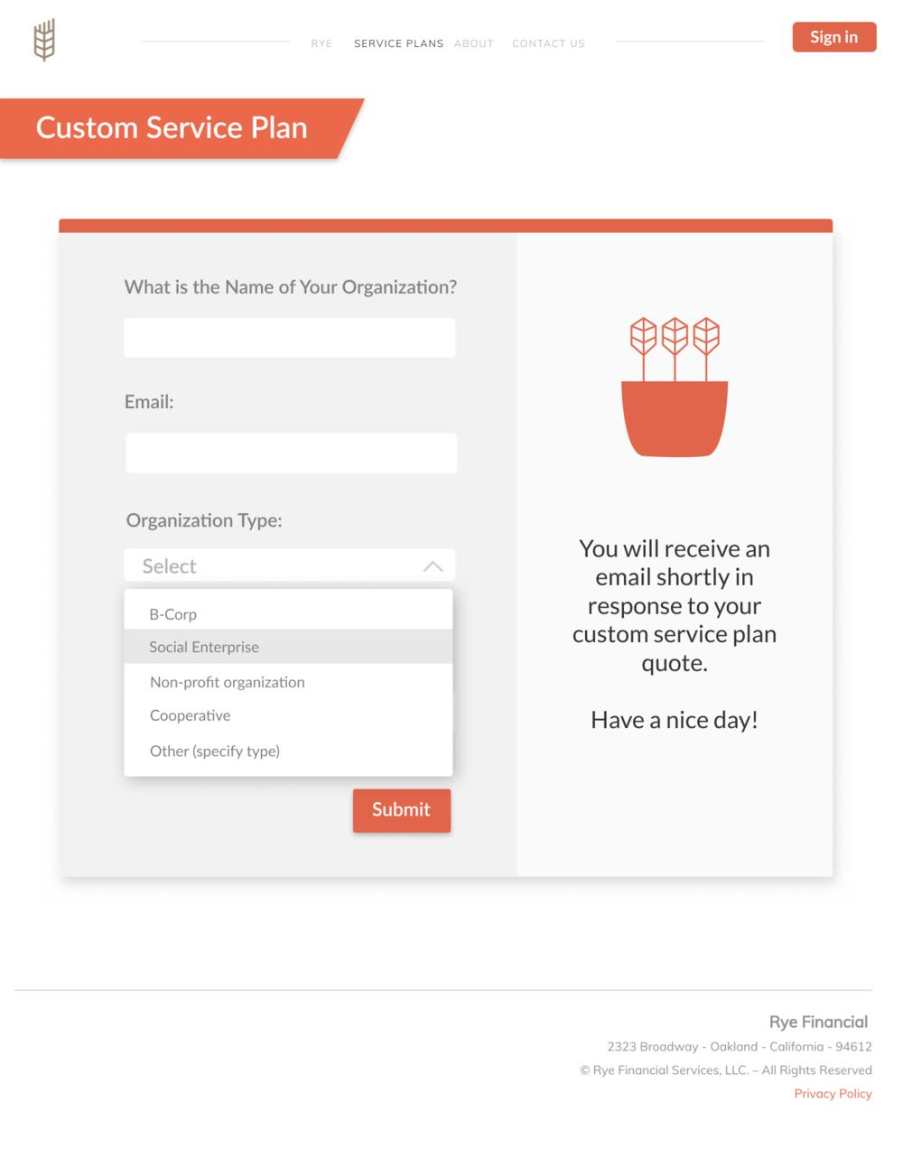 Custom service plan form