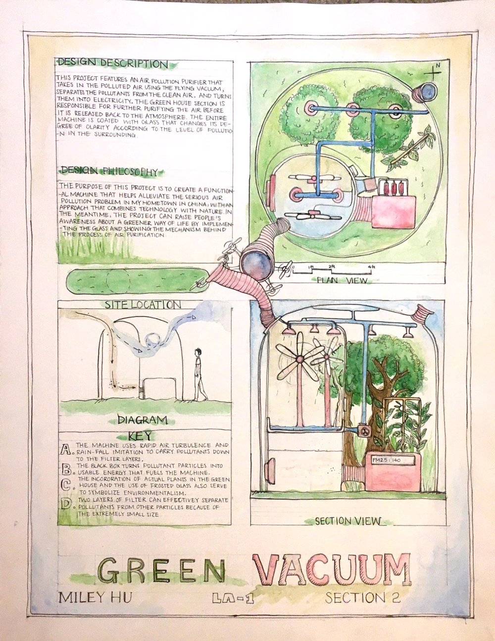 FINAL PROJECT FOR MY LANDSCAPE ARCHITECTURE CLASS: a green vacuum that can hopefully take away the pollution in my hometown :<