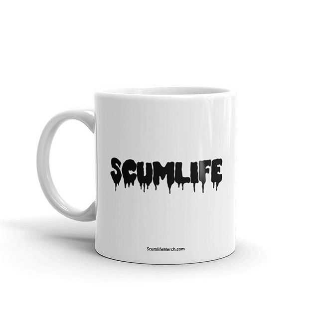 #NEW SCUMLIFE - MUG Available Now! | ScumlifeMerch.com  Regular price $10.00  Whether you're drinking your morning coffee, evening tea, or something in between – this mug's for you! It's sturdy and glossy with a vivid print that'll withstand the microwave and dishwasher.