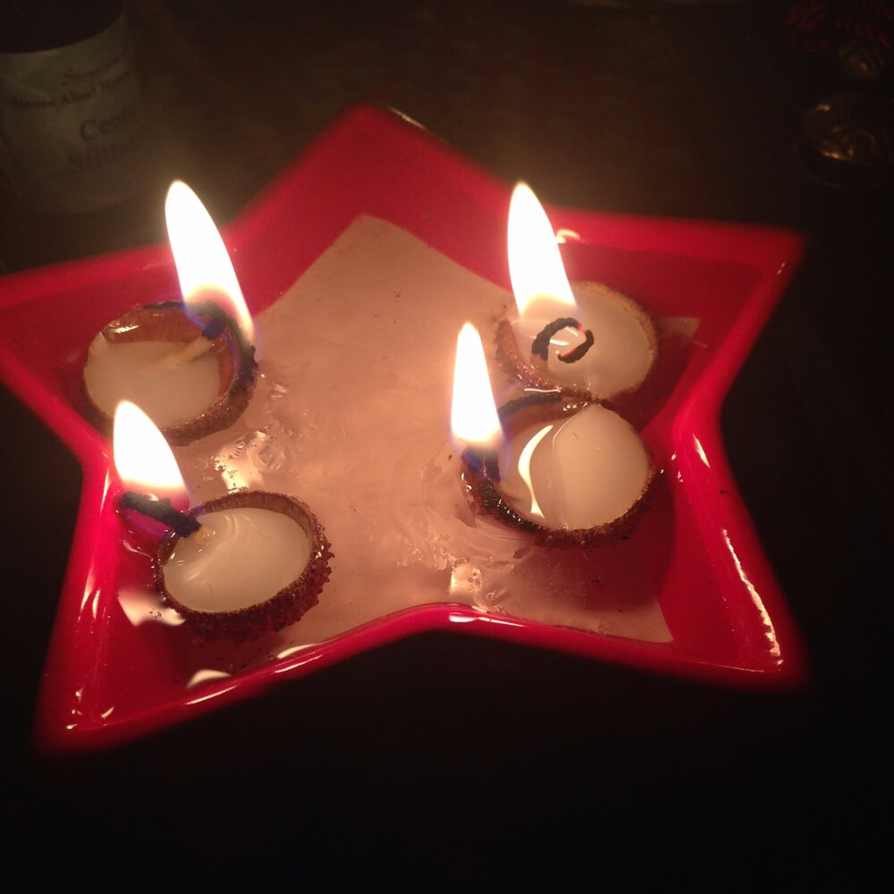 Candles in acorn shells for fertility