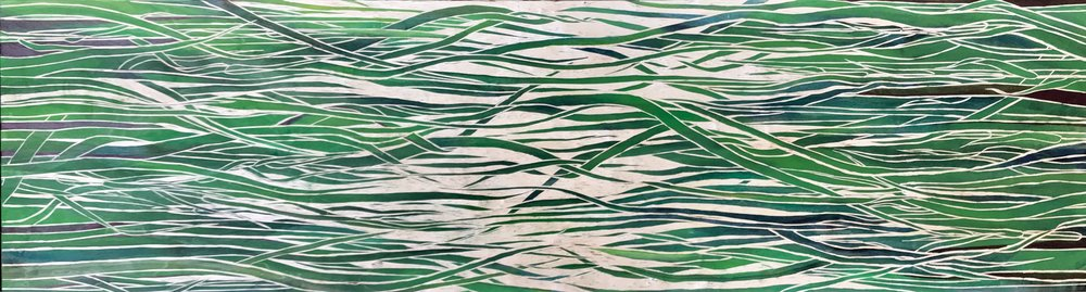 The View From Here 2018   acrylic and carving on birch, 18x66 inches, sold