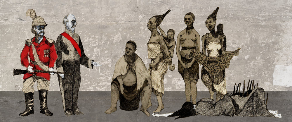 COSTUME SKECTHES: Talthybius, Menelaus, Hecuba, Chorus, Cassandra, Andromache, Helen of Troy